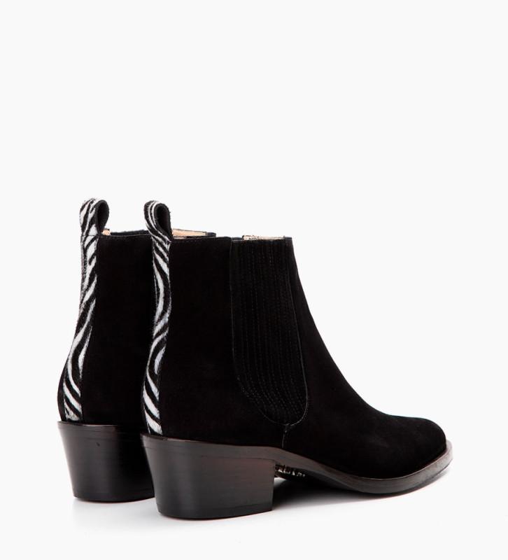 FREE LANCE Jane 5 Deco Chelsea Boots - Cuir Veau Lisse/Poils - Noir/Noir Blanc
