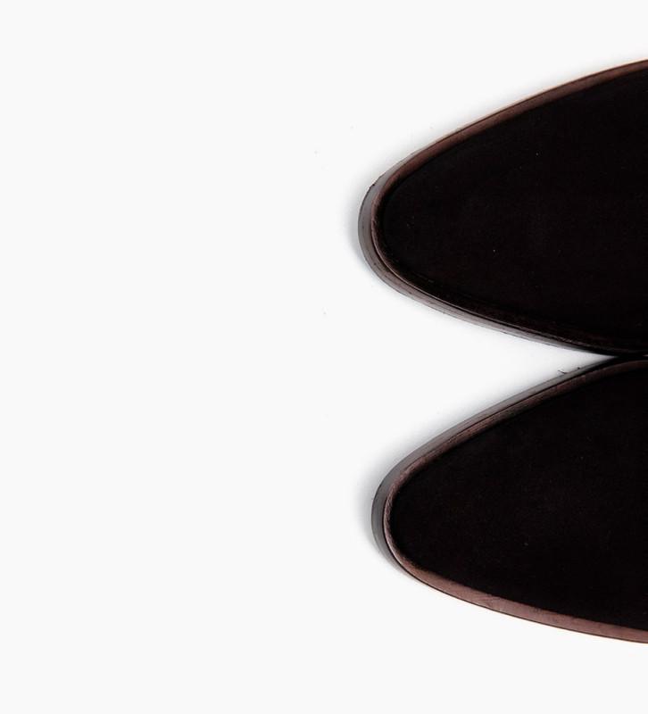 FREE LANCE JANE 5 DECO CHELSEA BOOTS - CUIR VELOURS/POILS - NOIR/BLANC
