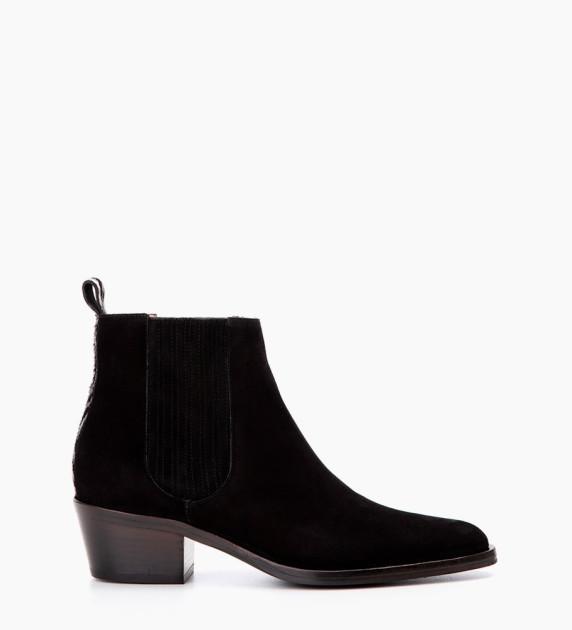 Jane 5 Deco Chelsea Boots - Cuir Veau Lisse/Poils - Noir/Noir Blanc