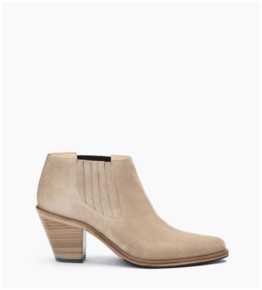JANE 7 LOW CHELSEA BOOTS - CUIR VELOURS - CAPPUCCINO