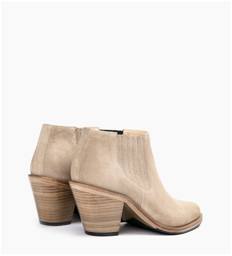 FREE LANCE JANE 7 LOW CHELSEA BOOTS - CUIR VELOURS - CAPPUCCINO