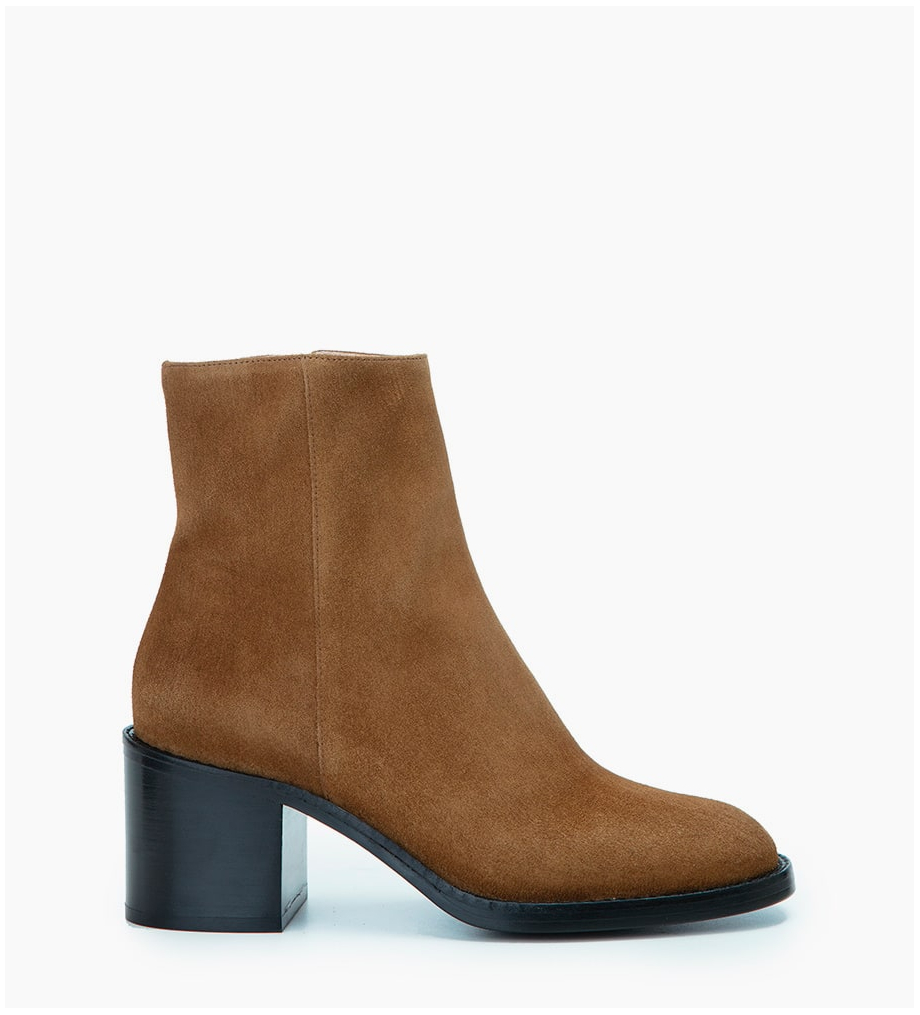 CHIARA 6 ZIP BOOT - CUIR VELOURS - CIGARE