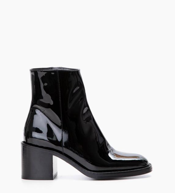 Chiara 6 Zip Boots - Cuir Vernis - Noir