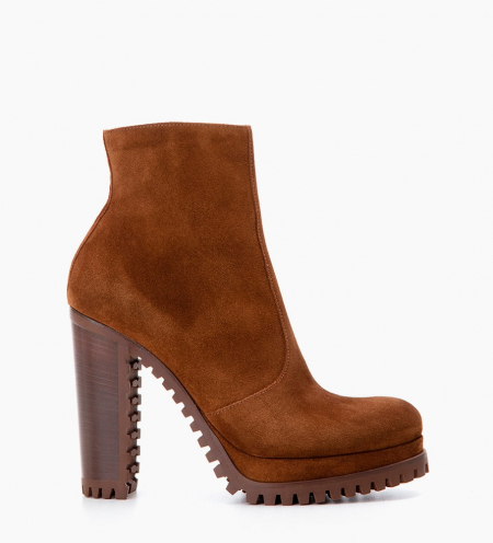 LERY 7 ZIP BOOTS - CUIR VELOURS - TABAC