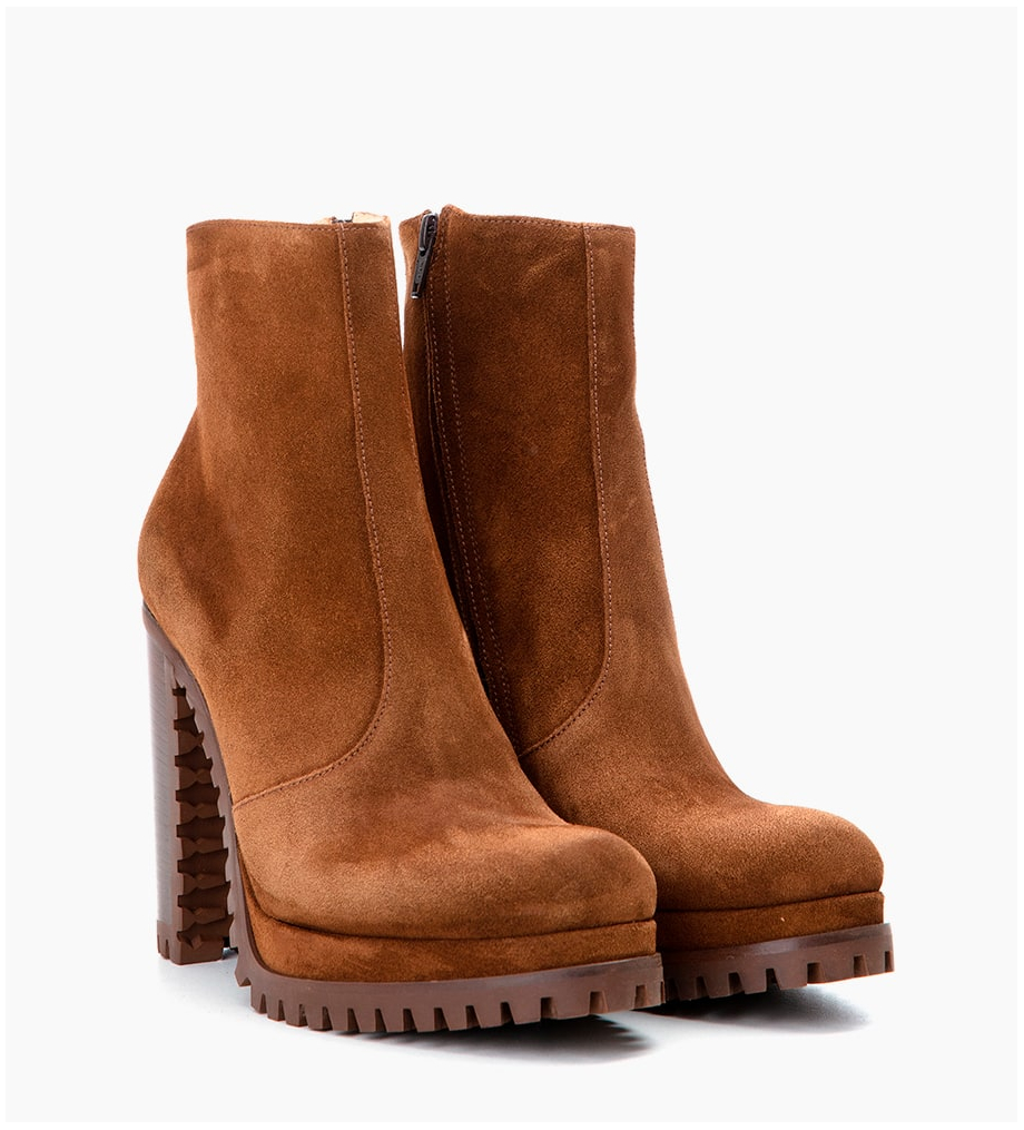 Eshop FREE LANCE LERY 7 ZIP BOOTS - CUIR VELOURS - TABAC