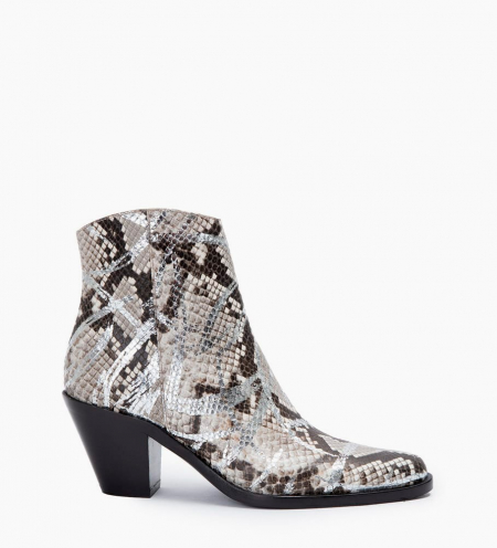 Jane 7 Side Zip Boots - Snake Print Graffiti - Argent