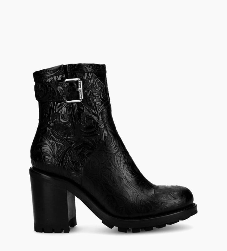 Justy 9 Small Gero Buckle Boots - Cuir Baroque - Noir
