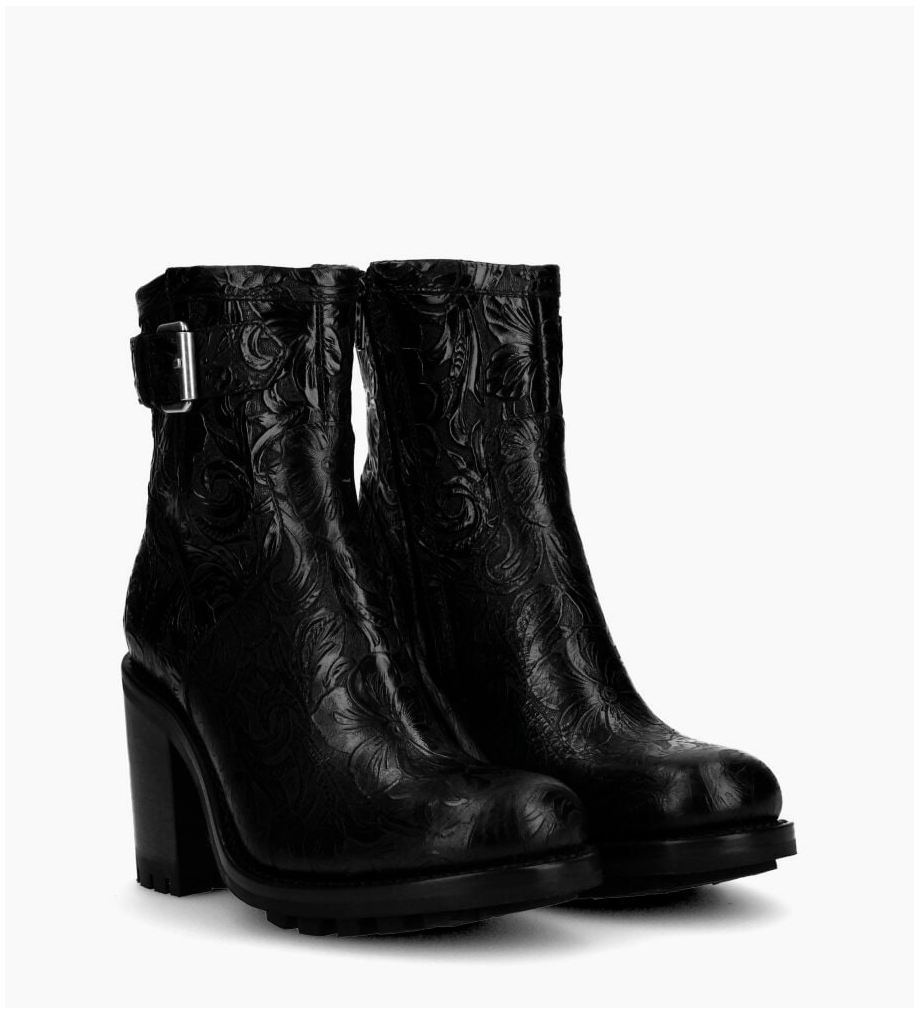 Justy 9 Small Gero Buckle Boots - Cuir Baroque - Noir