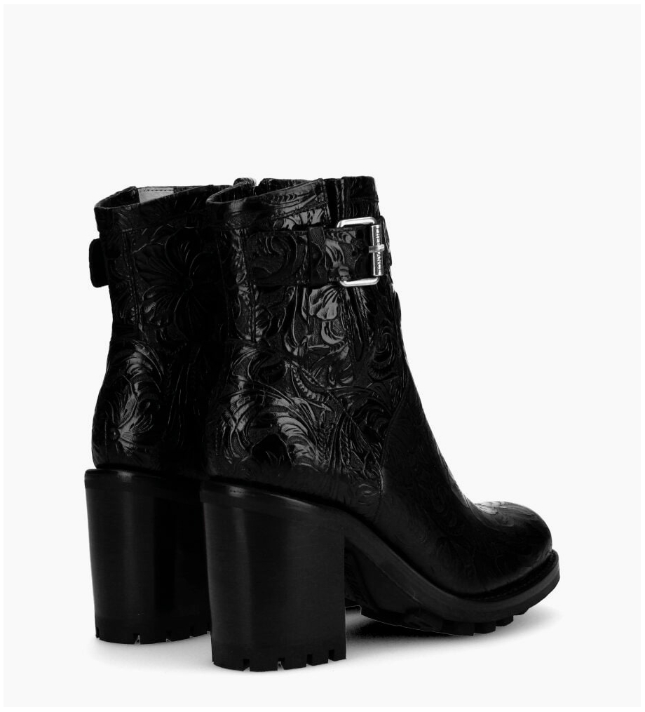 FREE LANCE Justy 9 Small Gero Buckle Boots - Cuir Baroque - Noir