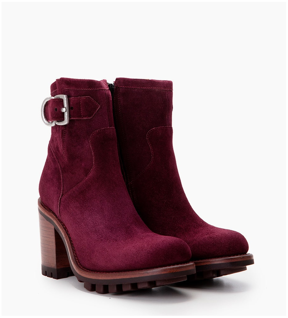 Eshop FREE LANCE JUSTY 9 SMALL GERO BUCKLE - CUIR VELOURS - PURPLE WINE