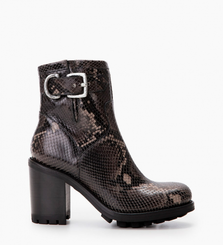 Justy 9 Small Gero Buckle - Snake Print - Gris