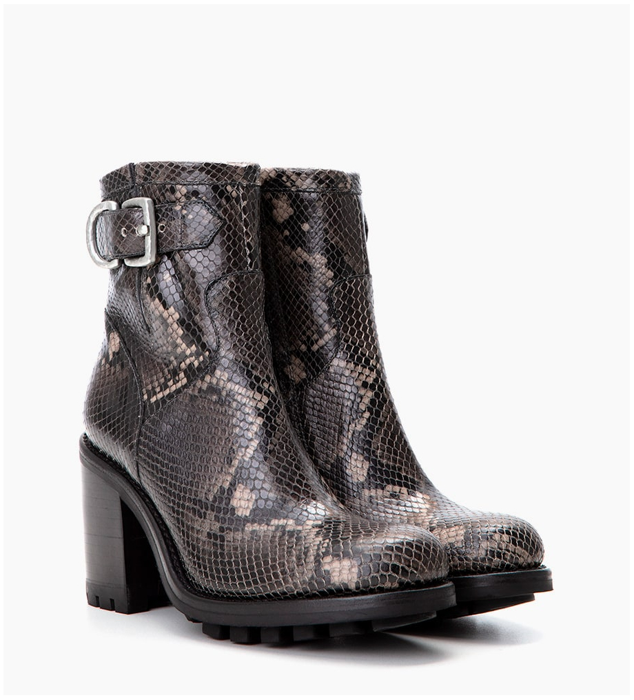 FREE LANCE Justy 9 Small Gero Buckle - Snake Print - Gris