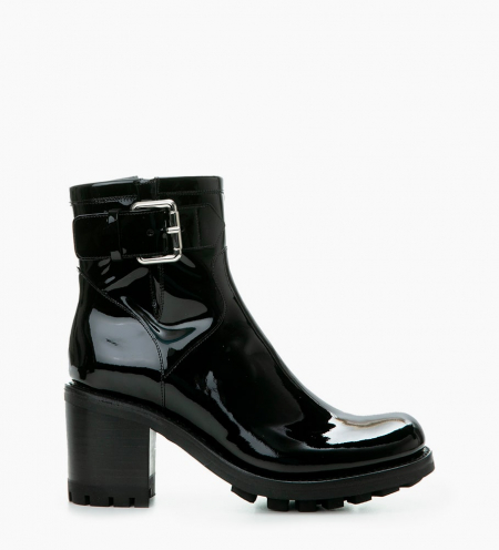 JUSTY 7 SMALL GERO BUCKLE- CUIR VERNIS - NOIR
