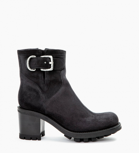 JUSTY 7 SMALL GERO BUCKLE - CUIR VELOURS - OFFBLACK