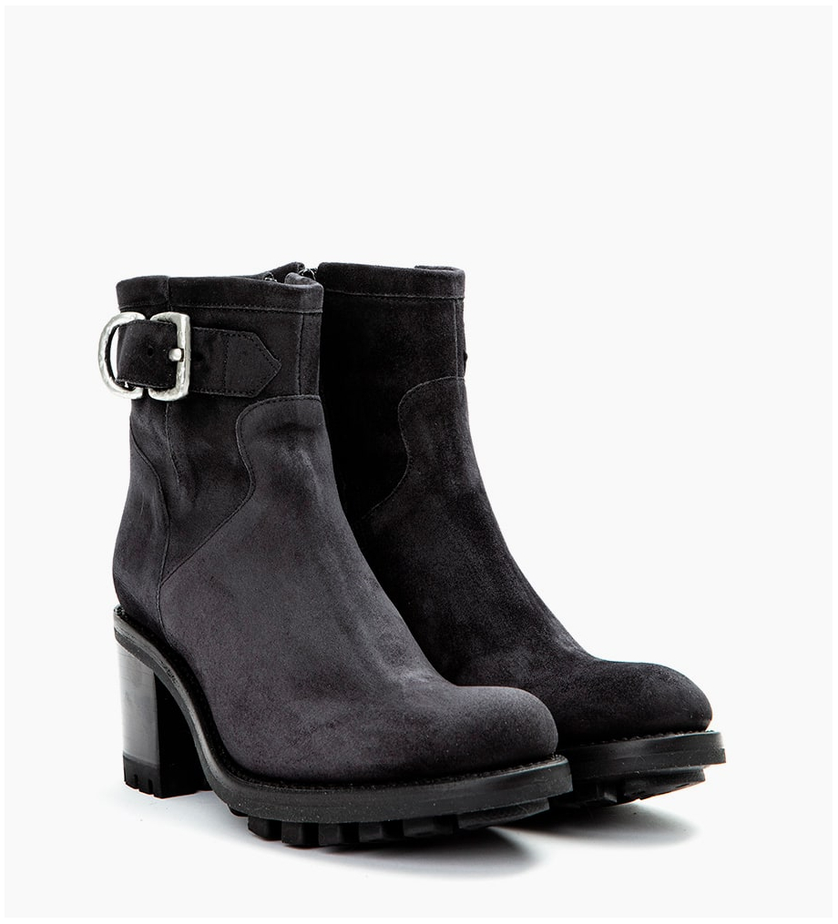 FREE LANCE JUSTY 7 SMALL GERO BUCKLE - CUIR VELOURS - OFFBLACK