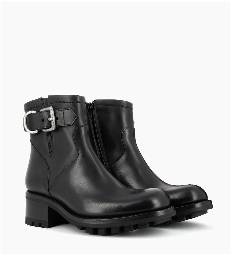 FREE LANCE JUSTY 4 SMALL GERO BUCKLE - CUIR LISSE - NOIR