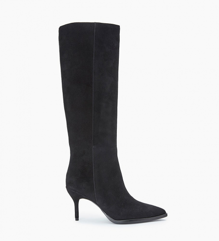 High boot with stiletto heel JAMIE 7 - Suede goat leather - Black