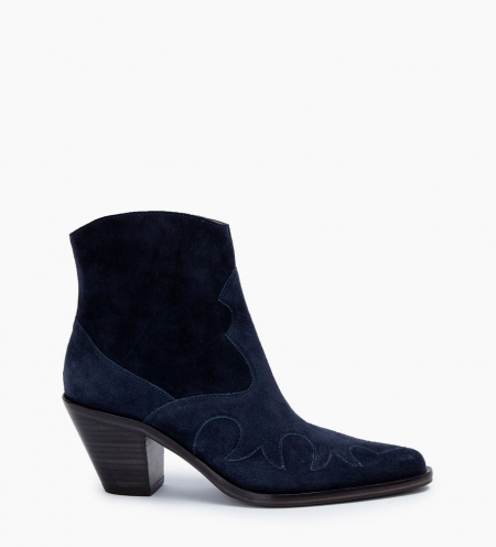 JANE 7 WEST ZIP BOOTS - CUIR VELOURS - BLEU NUIT