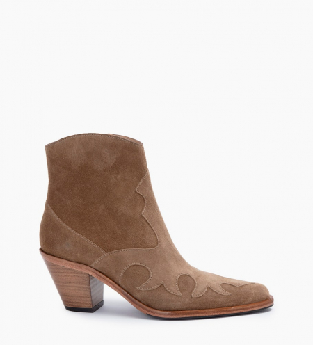 JANE 7 WEST ZIP BOOTS - CUIR VELOURS - TAUPE