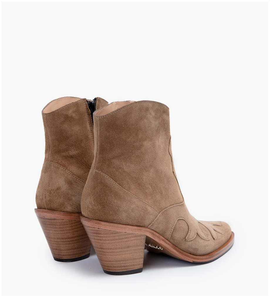 FREE LANCE JANE 7 WEST ZIP BOOTS - CUIR VELOURS - TAUPE