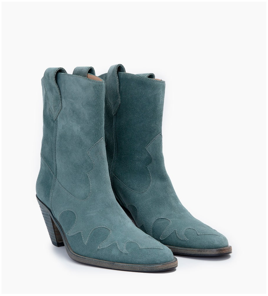 FREE LANCE JANE 7 WEST MID BOOTS - CUIR VELOURS - STONE