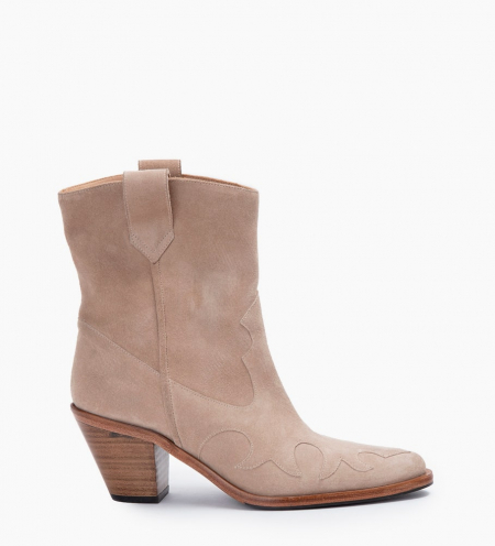 JANE 7 WEST MID BOOTS - CUIR VELOURS - CAPPUCCINO