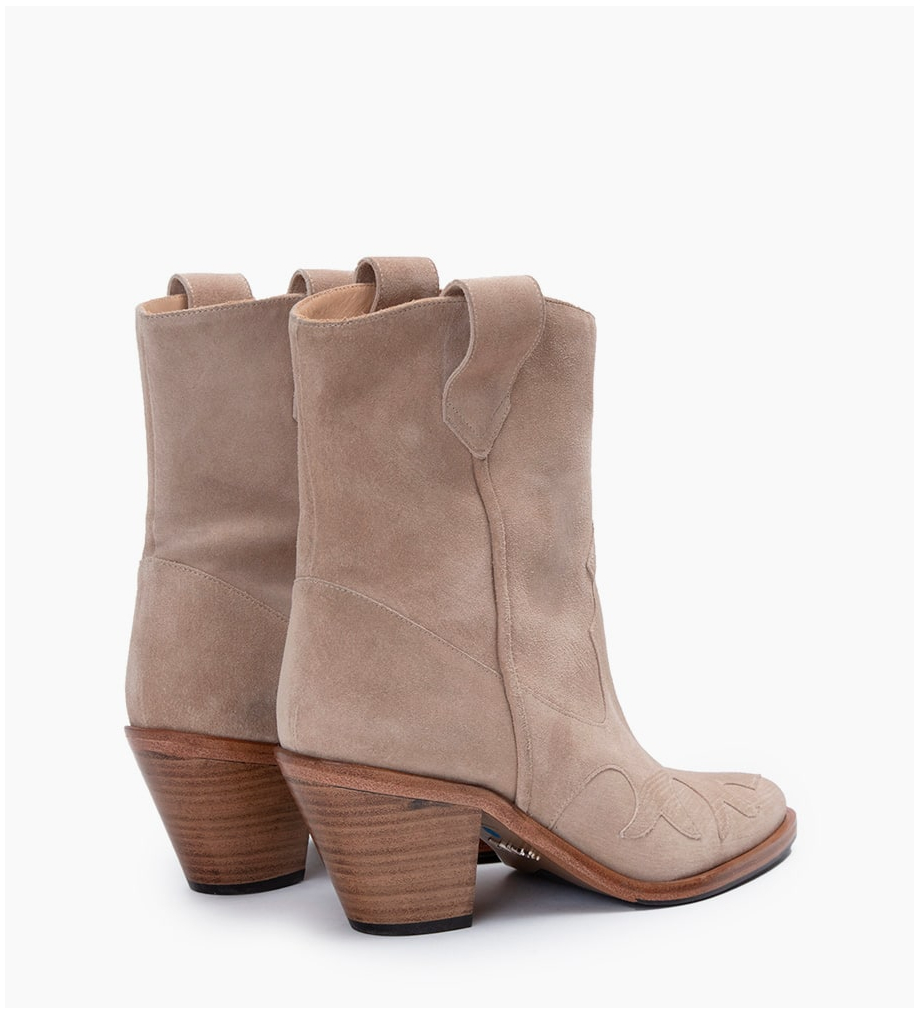 FREE LANCE JANE 7 WEST MID BOOTS - CUIR VELOURS - CAPPUCCINO