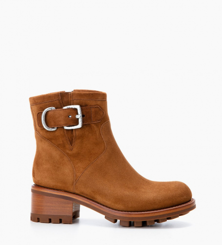 Justy 4 Small Gero Buckle - Cuir Velours - Tabac