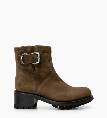 JUSTY 4 SMALL GERO BUCKLE - CUIR VELOURS - ARMY