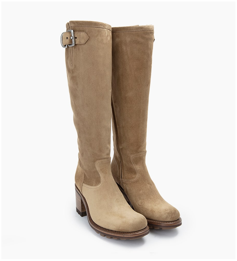 FREE LANCE Justy 7 Zip Geronimo Buckle - Cuir Velours - Taupe