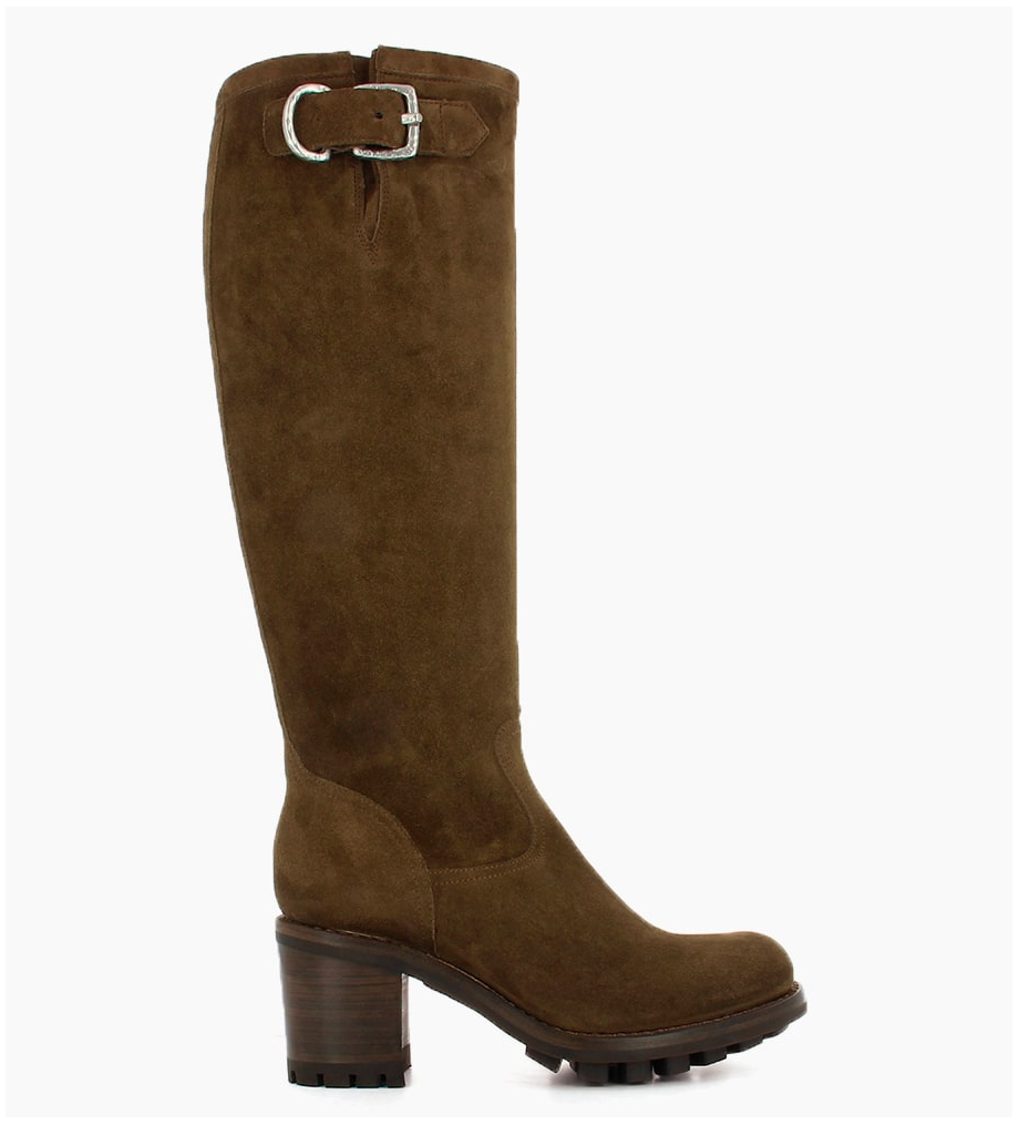JUSTY 7 ZIP GERONIMO BUCKLE - CUIR VELOURS - MOUSSE