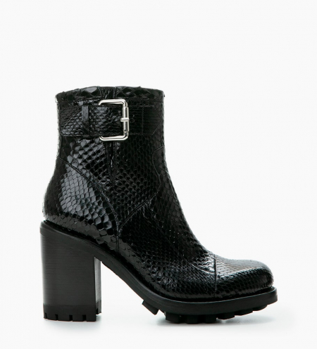 JUSTY 9 SMALL GERO BUCKLE - PYTHON - NOIR