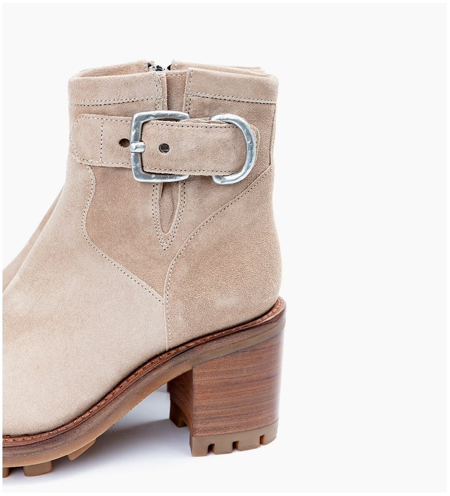 FREE LANCE JUSTY 7 SMALL GERO BUCKLE - CUIR VELOURS - CAPPUCCINO