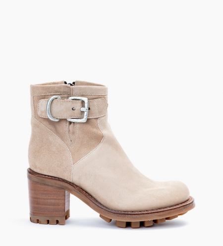 JUSTY 7 SMALL GERO BUCKLE - CUIR VELOURS - CAPPUCCINO