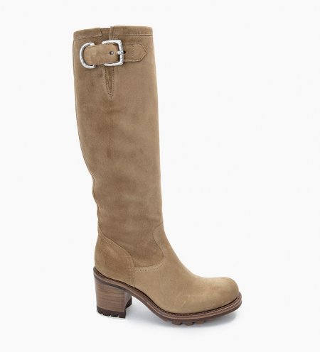 Justy 7 Zip Geronimo Buckle - Cuir Velours - Taupe