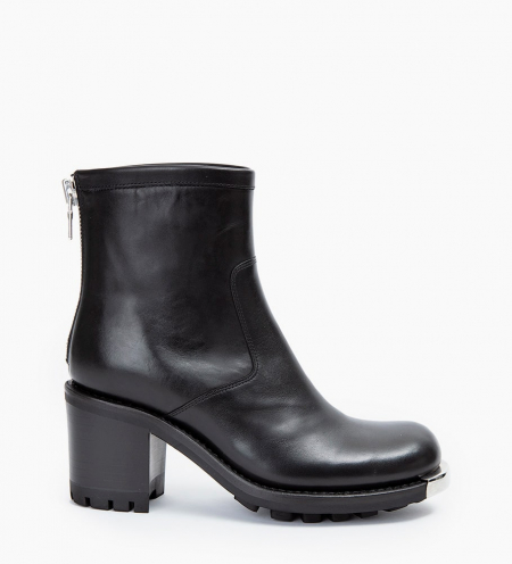 Justy 7 Métal Back Zip Boots - Cuir Lisse - Noir