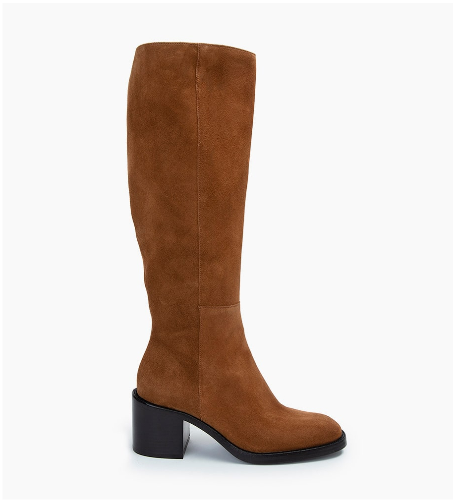 CHIARA 6 ZIP BOTTES - CUIR VELOURS - CIGARE