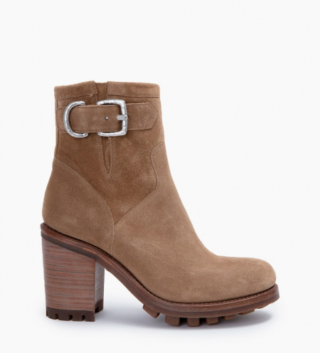 JUSTY 9 SMALL GERO BUCKLE - CUIR VELOURS - TAUPE