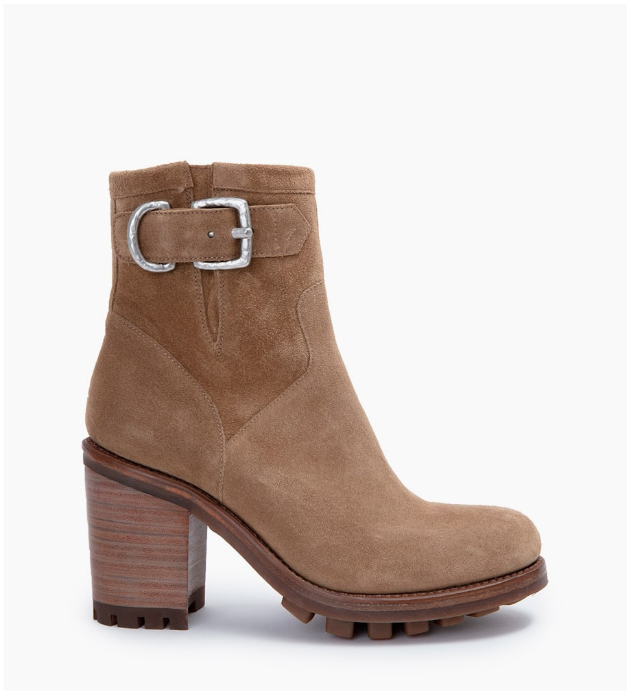 JUSTY 9 SMAL GER BUC - CUIR VELOURS - TAUPE