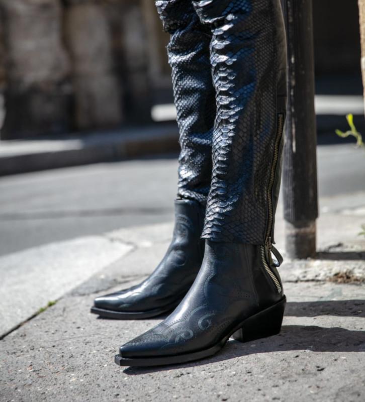 FREE LANCE Calamity 4 West Double Zip Boots - Veau Lisse Mat - Noir