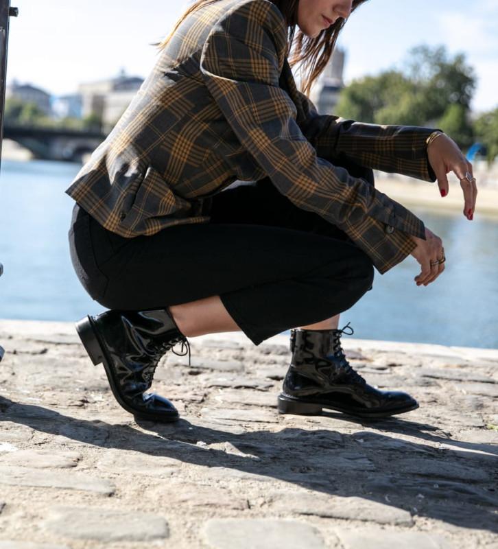 FREE LANCE Chris 35 Back Zip Lace Up Boots - Cuir Glacé - Noir