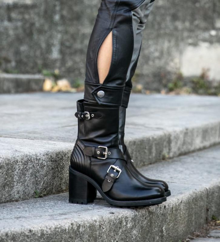FREE LANCE Justy 9 Cross Bucke Boots - Cuir Lisse - Noir