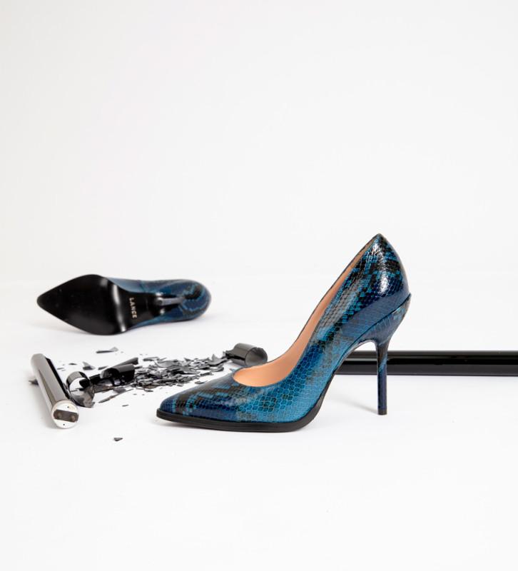 FREE LANCE Jamie 10 Pumps - Snake Print - Bleu Nuit