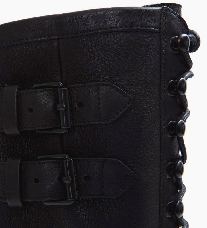 FREE LANCE Justy 7 Combat Zip Bottes - Cuir Lisse - Noir