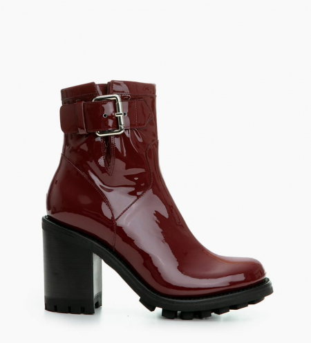 JUSTY 9 SMALL GERO BUCKLE - CUIR VERNIS - BORDEAUX