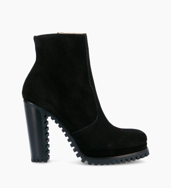 Lery 7 Zip Boots - Cuir Velours - Noir