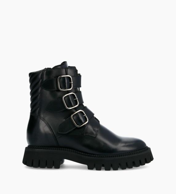 Lucy Buckle Zip Boots - Veau Lisse Brillant - Noir