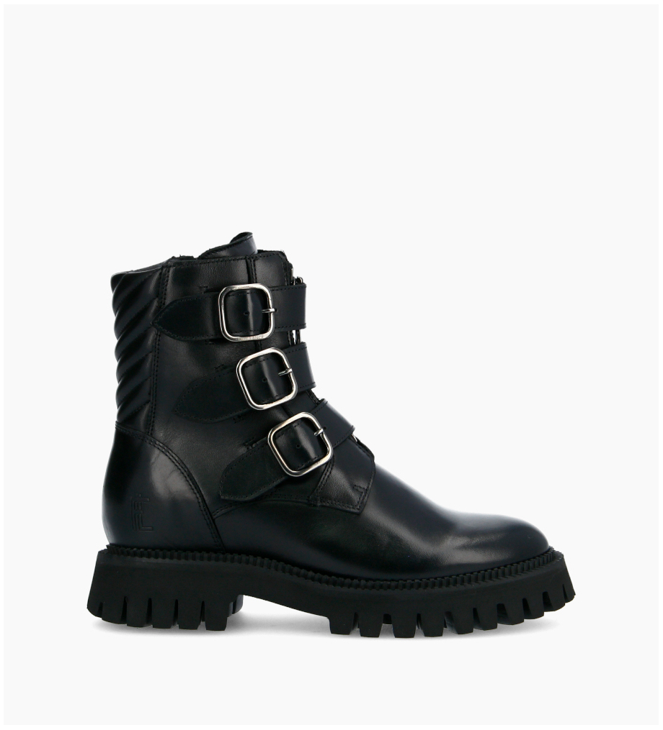 FREE LANCE Lucy Buckle Zip Boots - Veau Lisse Brillant - Noir
