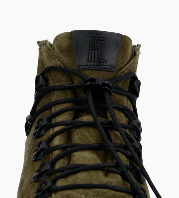 FREE LANCE Nakano Trekking Sneakers - Cuir Lisse/Cuir Velours - Noir/Army