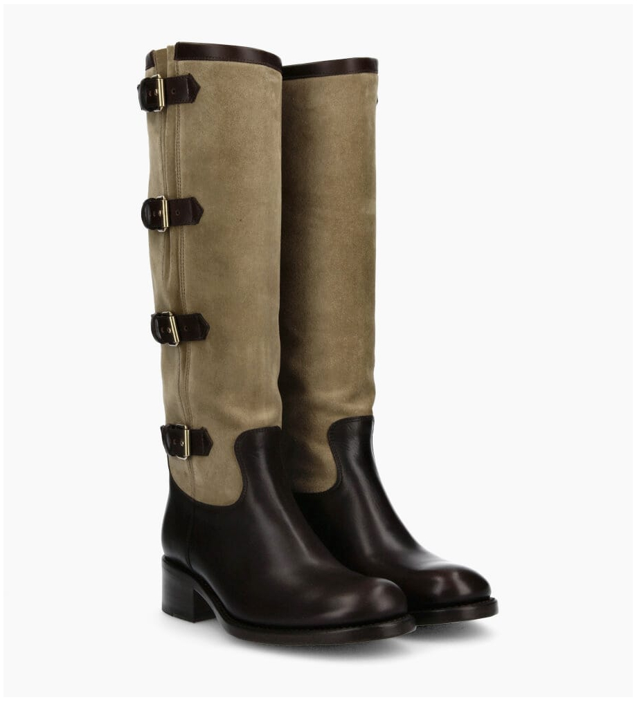FREE LANCE Rider 4 Multi Buckle Bottes - Cuir Lisse/Cuir Velours - Truffe/Taupe